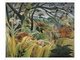 Tiger in a Tropical Storm (Surprised!) Poster van Henri Rousseau