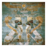 Two Androcephalic Sphynxes or Lions under the Great God Ahura Mazda Posters