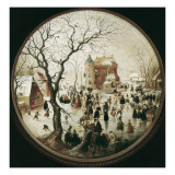 A Winter Scene with Skaters Near a Castle Plakater av Hendrik Avercamp