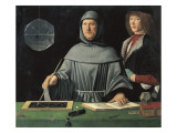 Portrait of Fra Luca Pacioli with a Pupil Posters af Jacopo de'Barbari