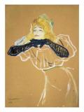 """Yvette Guilbert Singing """"Linger Longer Loo"""" Poster von Henri de Toulouse-Lautrec"""