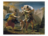 Aeneas and His Family Fleeing Troy Plakat af Pompeo Batoni