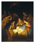 Adoration of the Shepherds (Adoration of the Shepherds) Julisteet tekijänä Gerrit van Honthorst