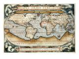antike Weltkarte des Theatrum Orbis Terrarum von 1570 Poster von Abraham Ortelius