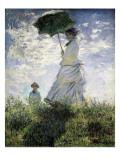Frau mit Sonnenschirm - Madame Monet und ihr Sohn Kunstdruck von Claude Monet