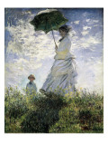 Nainen ja päivänvarjo - Madame Monet ja hänen poikansa Poster tekijänä Claude Monet