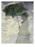 Frau mit Sonnenschirm - Madame Monet und ihr Sohn Giclée-Premiumdruck von Claude Monet