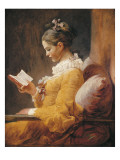 A Young Girl Reading Láminas por Jean-Honoré Fragonard