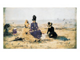 On the Beach at Trouville Posters af Eugène Boudin