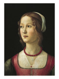 Portrait of a Young Woman Kunst af Domenico Ghirlandaio