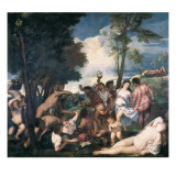 Bacchanal Plakater af  Titian (Tiziano Vecelli)