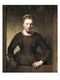 Young Woman at an Open Half-Door Láminas por  Rembrandt van Rijn