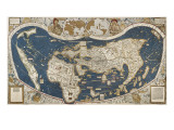 Universal Map, Belonging to the Work Cosmographiae Introductio (1507) Plakater