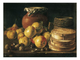 Still Life with Apples, Walnuts, Pot and Boxes of Sweetmeats 高品質プリント : ルイス・メレンデス・オ・メネンデス