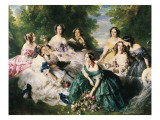 Portrait of the Empress Eugenie Surrounded by Her Ladies in Waiting Art by Franz Xaver Winterhalter