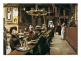 Café at Montmartre Posters by Santiago Rusinol