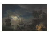 Night: a Port in the Moonlight Kunstdrucke von Claude Joseph Vernet