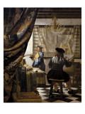 絵画芸術(画家のアトリエ) 1665-1666年 アート : ヨハネス・フェルメール