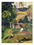 Matamoe or Landscape with Peacocks Stampe di Paul Gauguin
