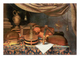 A Guitar, a Cello, Lutes, a Musical Score and Other Books and an Armillary Globe on a Draped Table, Giclée-tryk af Evaristo Baschenis