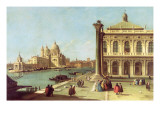 Entrance to the Grand Canal, Venice, with the Piazzetta and the Church of Santa Maria Della Salute Impressão giclée por  Canaletto