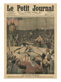 The Victory of the Negro, Jack Johnson Knocks Jim Jeffries Out at the World Boxing Championship Reproduction procédé giclée par  French School