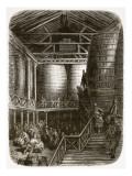 Large Barrels in a Brewery, from 'London, a Pilgrimage', Written by William Blanchard Jerrold Reproduction procédé giclée par Gustave Doré