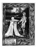 Arthur and the Strange Mantle, an Illustration from 'Le Morte D'Arthur' by Sir Thomas Malory Reproduction procédé giclée par Aubrey Beardsley