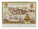 View of the Port and Fortified City of Saint Malo, Located on the Coast of Brittany Reproduction procédé giclée par  French School