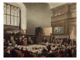 Court of Exchequer, Westminster Hall, from 'The Microcosm of London', Engraved by J. C. Stadler Giclee Print by Thomas Rowlandson