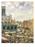 The Market Surrounding the Church of Saint-Jacques, Dieppe, 1901 Giclee Print by Camille Pissarro