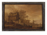A Village on a Riverbank with Peasants in a Boat by a Dovecote, 1651 Giclée-Druck von Jan Van Goyen