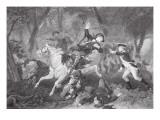Death of Patrick Ferguson at the Battle of King's Mountain, 7 October 1780 Gicléedruk van  American School