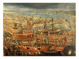 The Triumphant Return of Doge Francesco Morosini to Venice Giclée-tryk af  Italian School