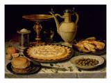 Still Life with a Tart, Roast Chicken, Bread, Rice and Olives Lámina giclée por  Peeters