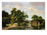 Wooded River Landscape with Peasants Unloading a Ferry Giclee Print by Marinus Adrianus Koekkoek