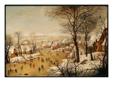 A Winter Landscape with Skaters and a Bird Trap Reproduction procédé giclée par Pieter Brueghel the Younger