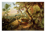 Exotic Birds and Insects Among Trees and Foliage in a Mountainous River Landscape Giclee Print by Philip Reinagle