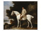 A Gentleman on a Grey Horse in a Rocky Wooded Landscape, 1781 Giclée-tryk af George Stubbs