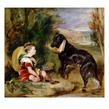 Hours of Innocence: Lord Alexander Russell Son of the 6th Duke of Bedford with His Dog Giclée-tryk af Edwin Henry Landseer