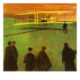 The First Flight by the Wright Brothers at Kitty Hawk Lámina giclée prémium por  English School