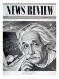 Albert Einstein on the Cover of 'News Review', 16th May 1946 Giclée-tryk af  English School