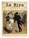 Dancing Couples, from the Front Cover of 'Le Rire', 17th December 1898 Gicléetryck av  Jeanniot