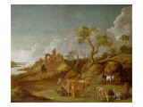 Extensive Hilly Landscape with Cattle, Sheep and Goats Gicléetryck av  Potter