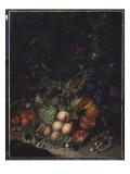 Peaches, Grapes, Pomegranates, Melons, a Corncob, Apricots, Plums, Pears, Acorns, 1718 Lámina giclée por Rachel Ruysch