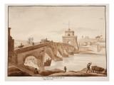 The Restoration of Ponte Milvio by Pope Pius Vii, 1833 Lámina giclée por Agostino Tofanelli