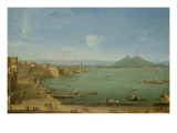 View of Naples from the Bay with Mt. Vesuvius Giclée-tryk af Antonio Joli