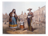 Mexican Family in Plaza Santo Domingo, Mexico City, C.1840 Giclee Print by  German School