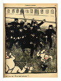 A Police Brigade Charges a Group of Demonstrators Giclee Print by Félix Vallotton