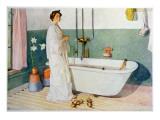 Bathroom Scene - Lisbeth, Pub. in 'Lasst Licht Hinin' Giclée-tryk af Carl Larsson